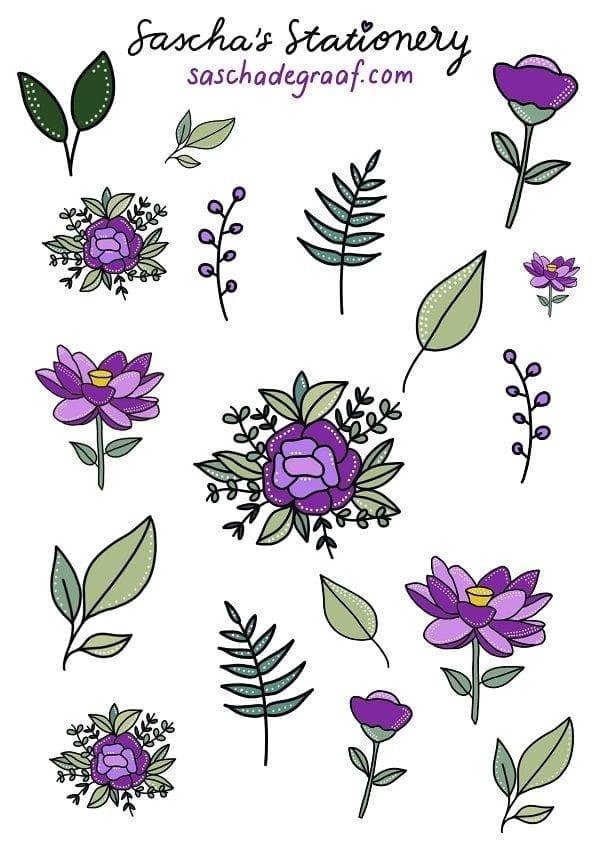 Stickers bulletjournal bloemen paars