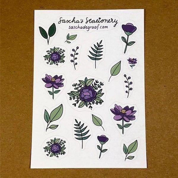 Bloemen stickers paars recht