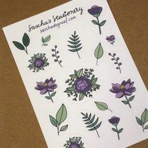 Stickers bloemen paars schuin