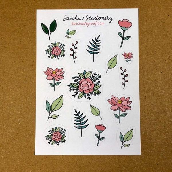 Stickers bloemen roze recht