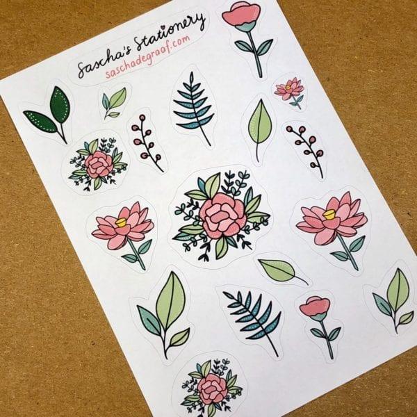 Stickers bloemen roze schuin
