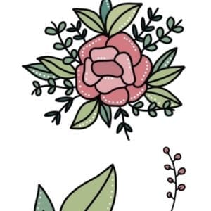 Boekenlegger bloemen roze