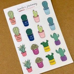 Cactus stickers schuin