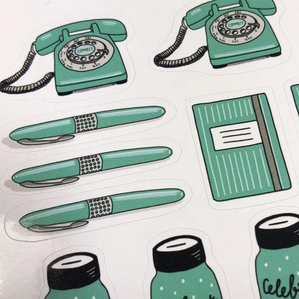 Stickers mintgroen stationery detail