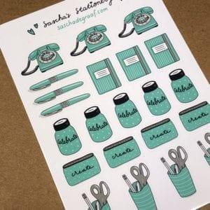 stickers mintgroen stationery