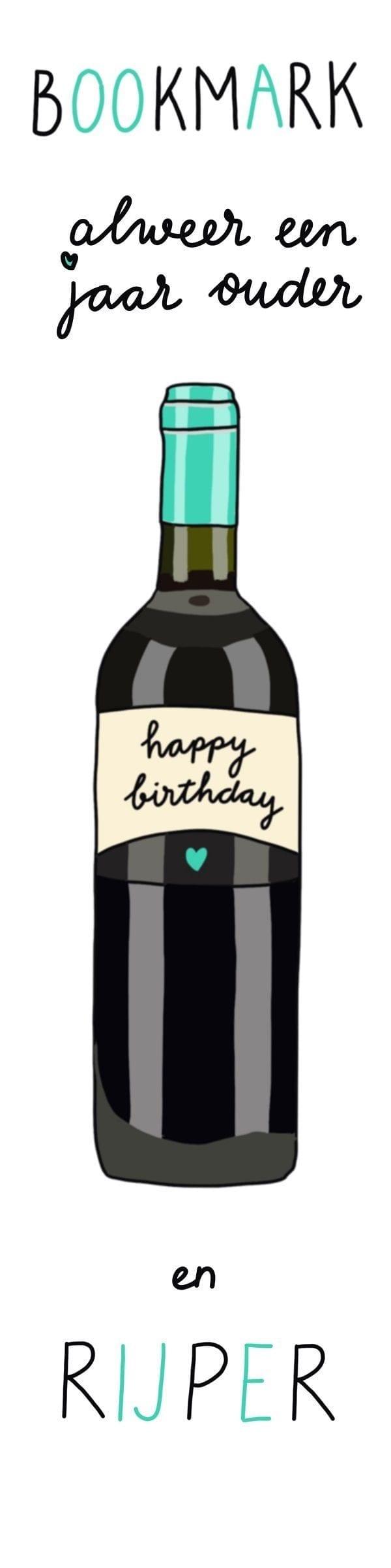 boekenlegger Happy Birthday, wijn
