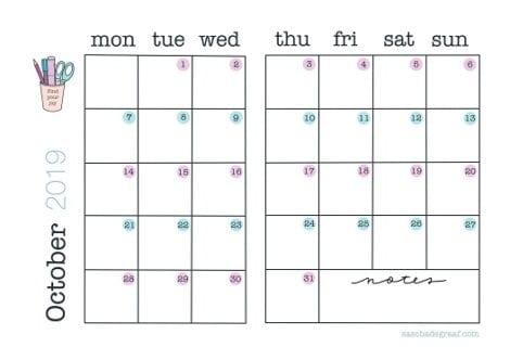 October bulletjournal calendar